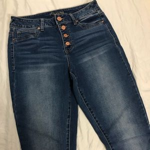 NWOT Med High rise button fly skinny jeans